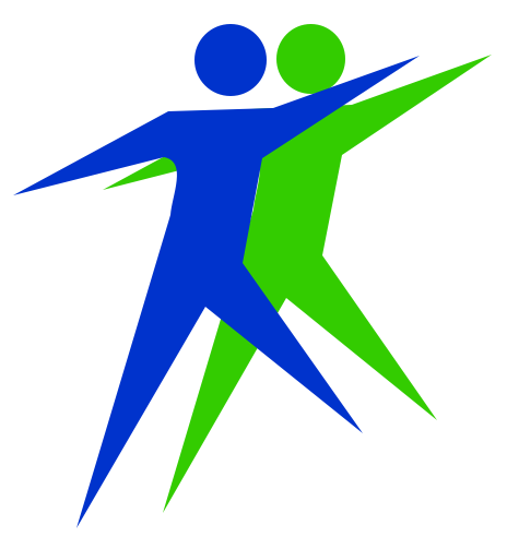Together People logo - two people leaping forward in step